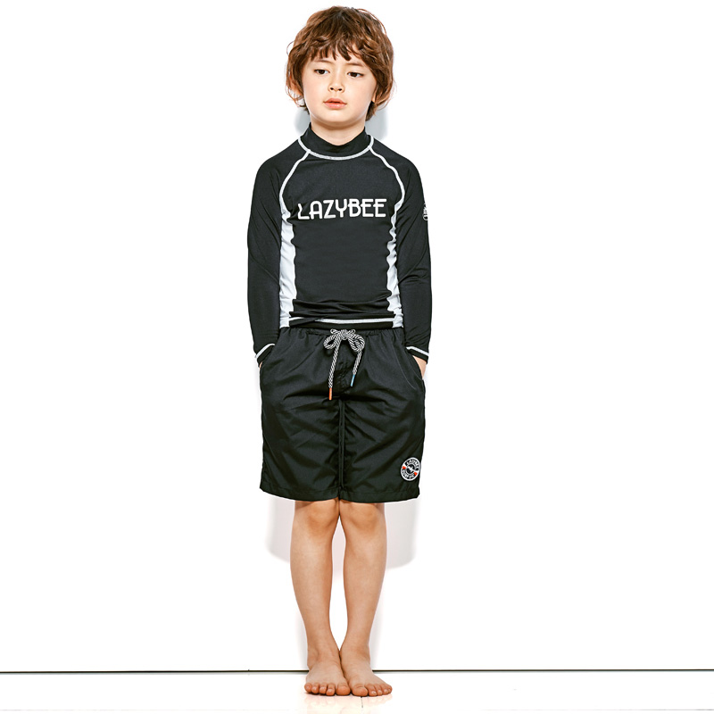 [LAZYBEE] OXO kids boy Swim Pants - Black 레이지비 아동용 비치바지